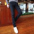 Moda Hombre Jeans 2016 Stretch Hombre Ropa Pantalones Lápiz Negro Pantalones de Mezclilla Larga Caballero Delgado Gimnasio Jeans Rectos K07