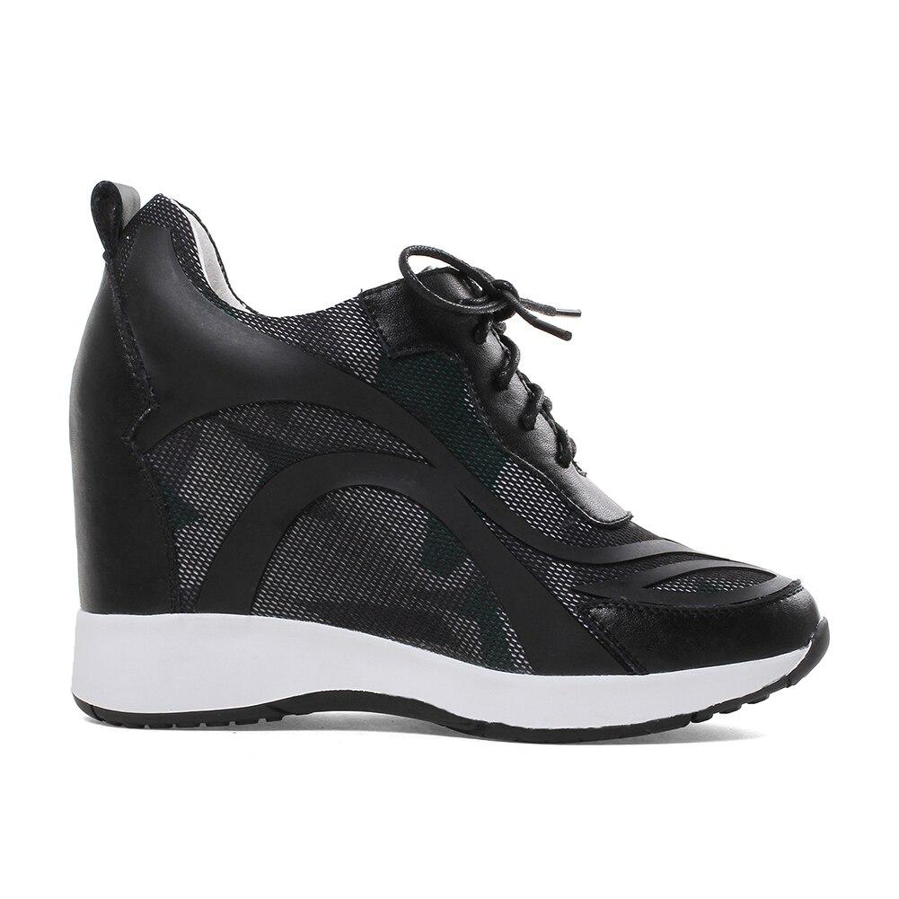 Doratasia Dentelle Sneakers blanc 2019 Mode Hauteur Qualité Fille Véritable Chaussures En 32 Croissante Taille Noir Automne 40 Cuir up Femmes Femme Grande 48xwprq4