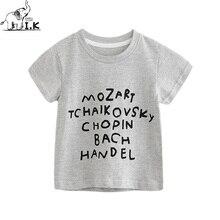 I.K scherzt Baby-Buchstaben-Kurzschluss-T-Stücke Jungen graue T-Shirts Kleinkind-Kind-Oberseiten-Sommer-Kostüm O-Ansatz Kleidung 2018 neues DT26011