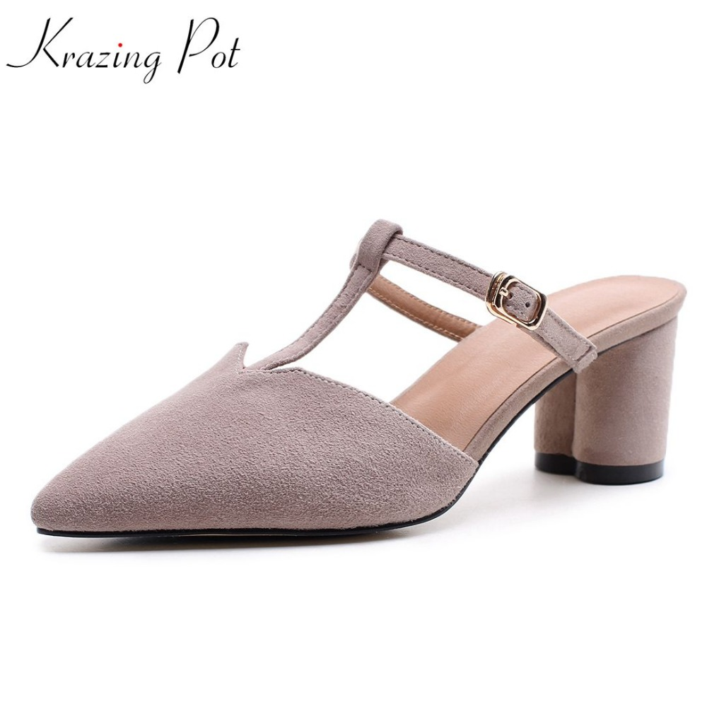 Krazing Pot hot sale sweet classic high heel kid suede solid slip on mules pointed toe leisure runway streetwear pumps shoes L10 forza10 forza10 breeders для взрослых собак крупных пород из трески голубого тунца и лосося 20 кг