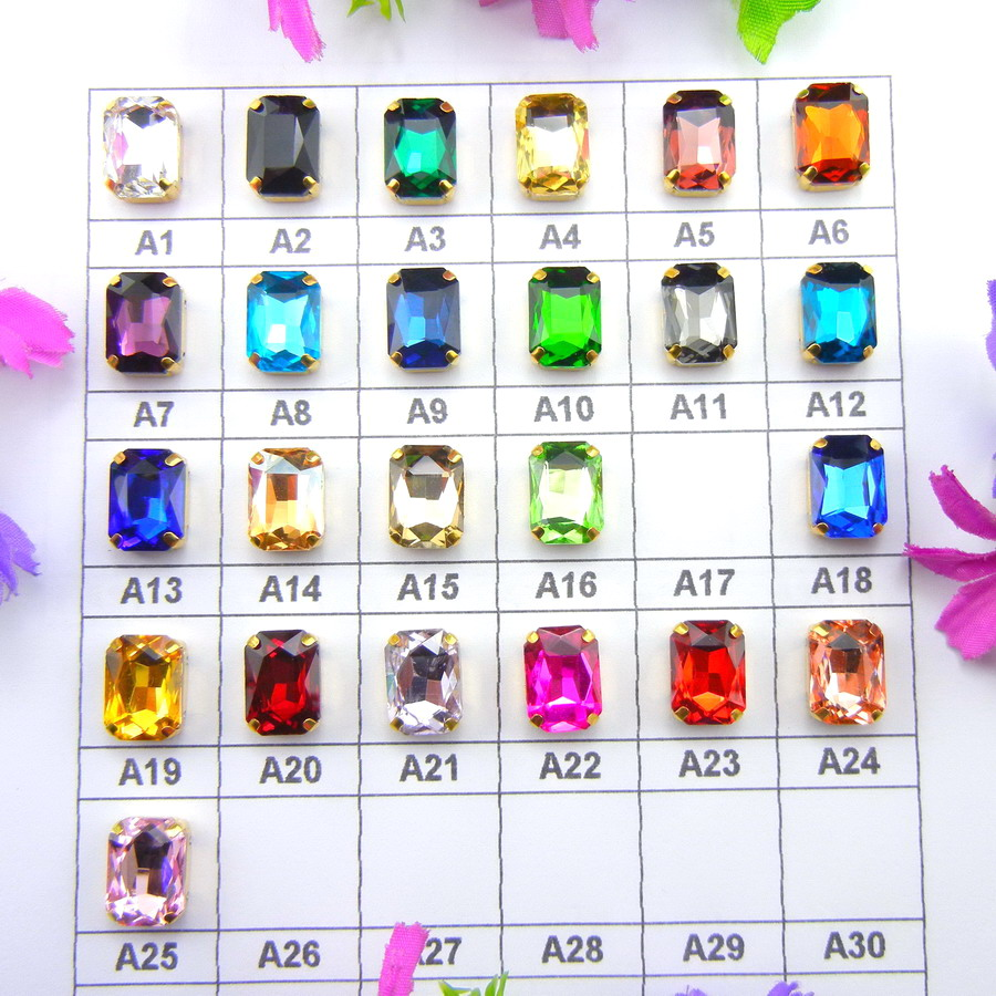 Glass Crystal Gold claw settings 7 Sizes Various colors Rectangle shape Sew on Crystals rhinestone beads garment handicraft diy
