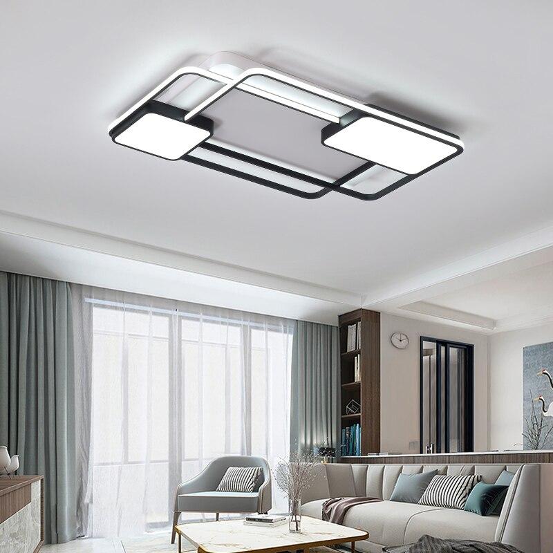 Люстра для гостиной, спальни, Прямоугольная алюминиевая Потолочная люстра, современная люстра с пультом дистанционного управления