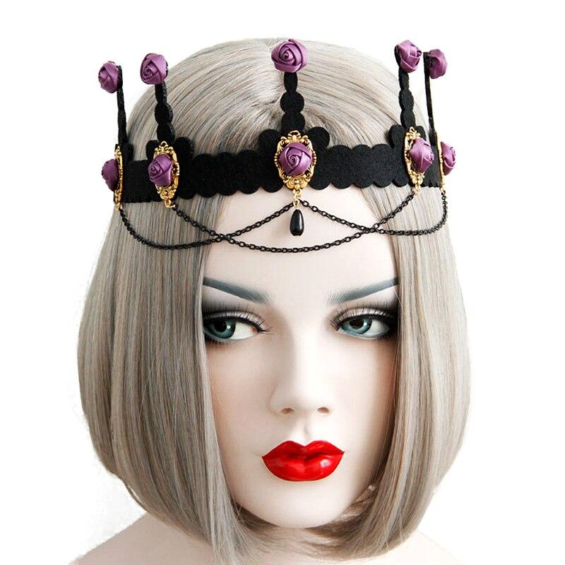 Women Girl Headbands Purple Rose Flower Crown Tiara Bead Drop Chain Tassel Headpiece Fancy Dress Party Bridal Wedding Hair Band