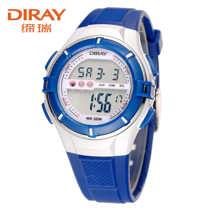 Watch-Blue DIRAY Silicone-Strap Digital Hour Waterproof Spor Children Students Gift Enfant