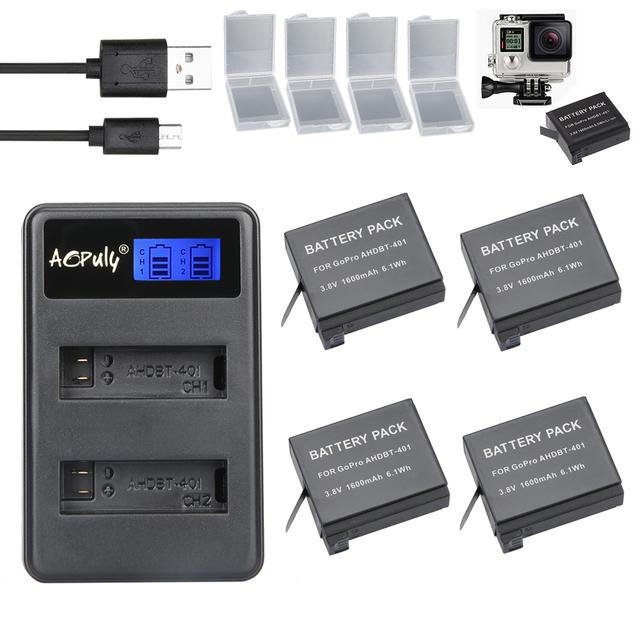 4 x ahdbt-401 + lcd dual usb cargador de batería para gopro bateria baterías go pro hero4 hero 4 ahdbt 401 cámara de la acción accesorios