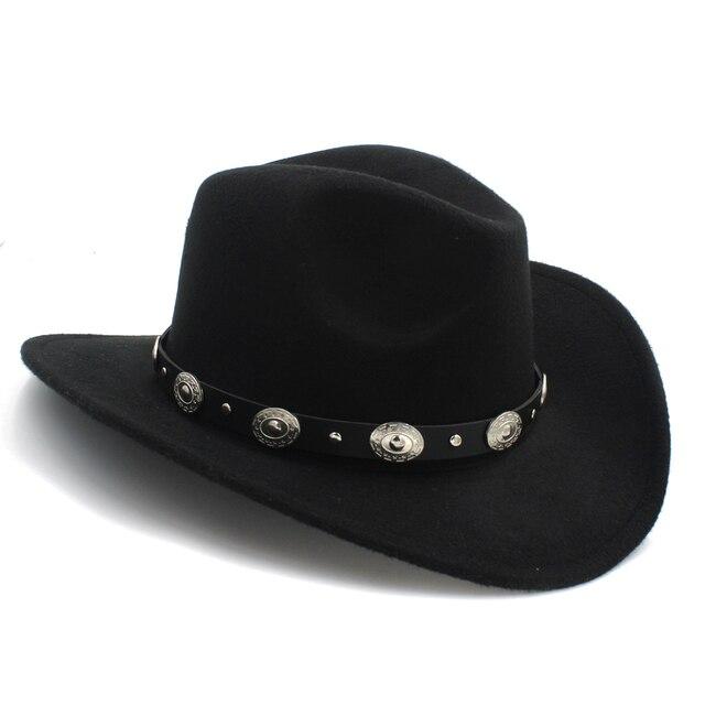 Retro 100% Lana Inverno Cappello Da Cowboy Occidentale Per I Bambini  Bambini Ampia bordo Cowgirl 20b54e9cf248