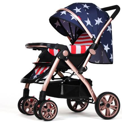 Wangbaby high landscape baby stroller can sitting and lying ultra portable folding umbrella car summer baby pram baby carriage four wheel stroller ultra portable pu leather umbrella car bb baby stroller capable of sitting and lying trolley suspension