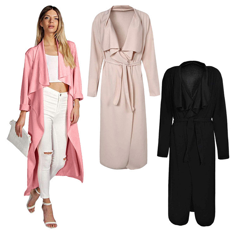 Long Trench Coat For Women Long Coat Sash Turndown Collar Womens Trench Coat Clothing Female Woman Windbreaker KH823169
