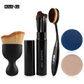 5 in 1 Oval Foundation Brush Eyeshadow Makeup Brush Cosmetic S Shape Sponge Puff Cream Powder Blush Makeup Brush Set Gift