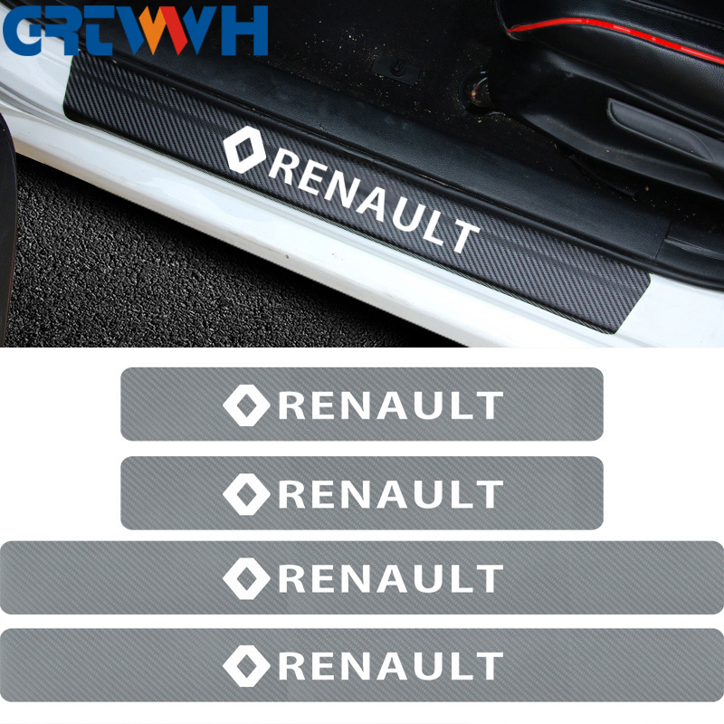 4pieces Car Door Wear Plate Carbon Fiber Protection Sticker For Renault Duster Megane 2 Logan Renault Car Styling