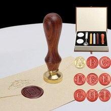 26 편지 패턴 레트로 씰링 왁스 세트 DIY 종이 봉투 장식 섬세 한 Cuprum 우표 결혼식 초대장에 대 한 나무 손잡이