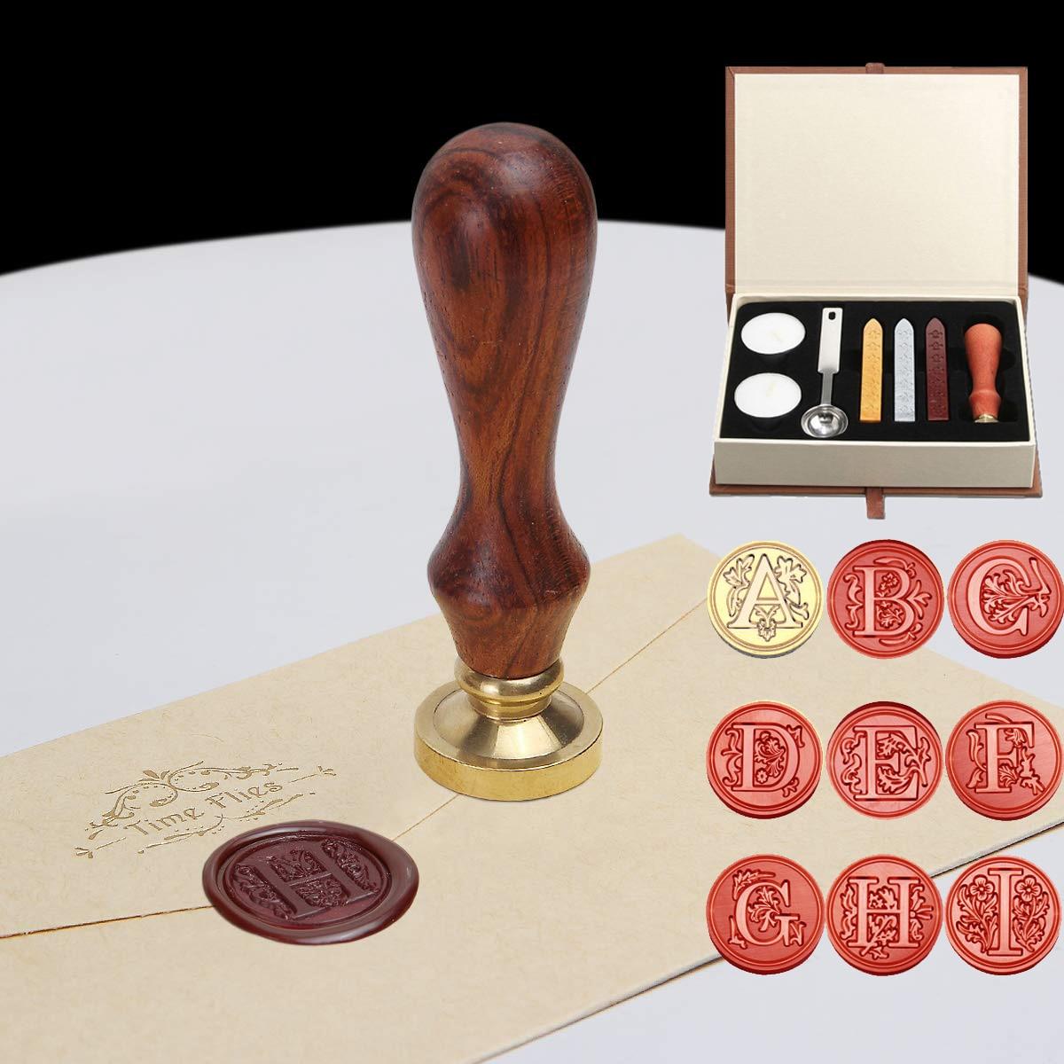 26 Letter Pattern Retro Sealing Wax Set DIY Paper Envelope Decoration Delicate Cuprum Stamps Wood Handle For Wedding Invitation