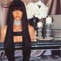 Полный Шнурок Человеческих Волос Парики Для Чернокожих Женщин 180% Фронта Шнурка Парик человеческих Волос Прямо Бразильский Девственные Волосы Парик С челка