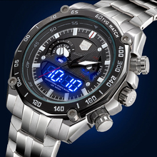 TVG Mens New Multifunctional Full Steel Quartz Military Army Watch Waterproof Luminous Pointer LED Digital Watch Men Sport Watch