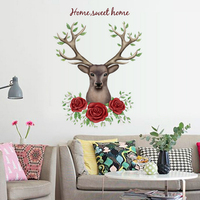 Roses Deer Head English Letter Wall Decal Home Sticker Paper Removable Art Picture DIY Murals kids Nursery Baby Room Decoration