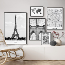 World Map Paris Tower Brooklyn Bridge Wall Art Canvas Painting Nordic Posters And Prints Pictures For Living Room Decor