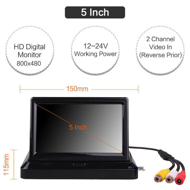 New arrival 5 Inch Foldable 800 x 480 Car Dashboard LED Monitor Screen for Rear View Parking Home CCTV