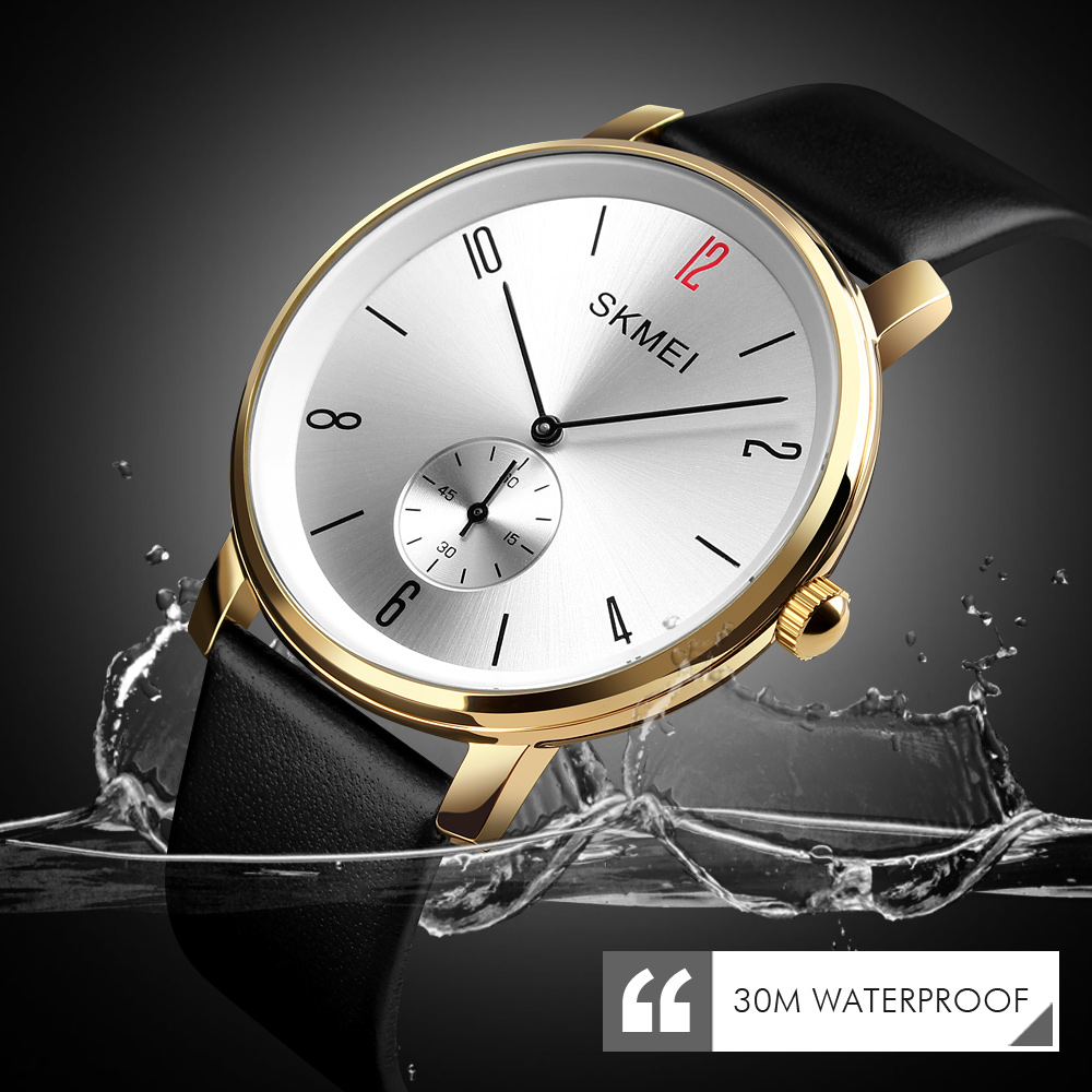 SKMEI Fashion Women Quartz Watch Casual Men Watch 30M Waterproof Luxury Ladies Leather Strap Wristwatch Relogio Feminino