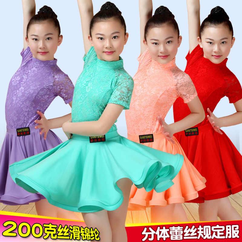 Mädchen kinder Latin dance rock Kinder split spitze dance performance test wettbewerb standard kleid Tango Röcke Kid Kind