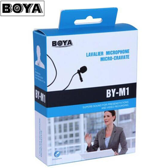 Boya By-M1  Lavalier microphone Omnidirectional Condenser Microphone 3.5mm Mic for Canon / iPhone DSLR Audio Recorders