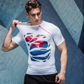 2016 NEW compression torn printing t-shirts Superman/Batman/spider man/captain America Fitness tees exercise PRO men T-shirt