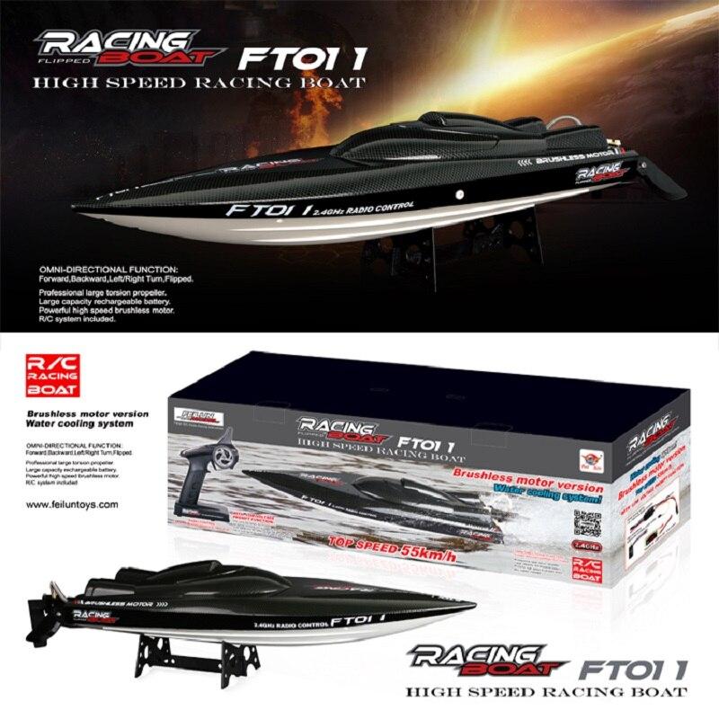 50 km/h. Feilun FT011 bateau de course à grande vitesse de refroidissement par eau de bateau à moteur sans brosse 65 CM RTR 2.4 GHz}