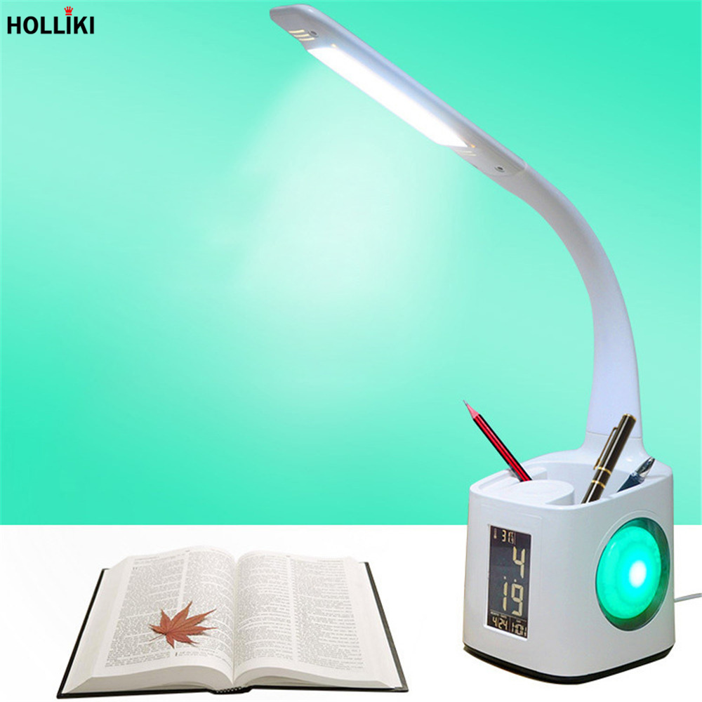 LED Calendar Pen Holder Adjustable Desk Table Lamp USB Temperature Reading Touch Dimmer Lamp for Office Home Luminaria De Mesa led geometry triangle desk table lamp minimalist detachable touch dimmer reading lamp for office student study luminaria de mesa