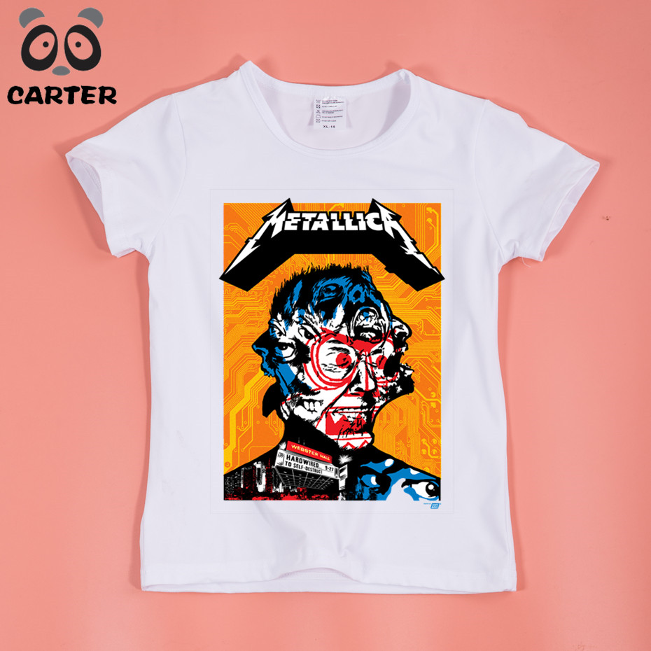 Boy and Girl Print Heavy Metal Rock metallica T-shirt Children harajuku Short sleeve T shirts Kids Tops Tee Baby Clothes HKP330