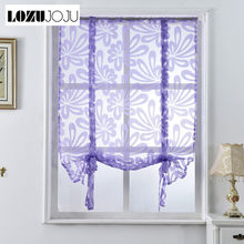 LOZUJOJU White window floral sheer curtains short roman panel blue Kitchen drapery door blind home curtains jacquard decor tulle(China)