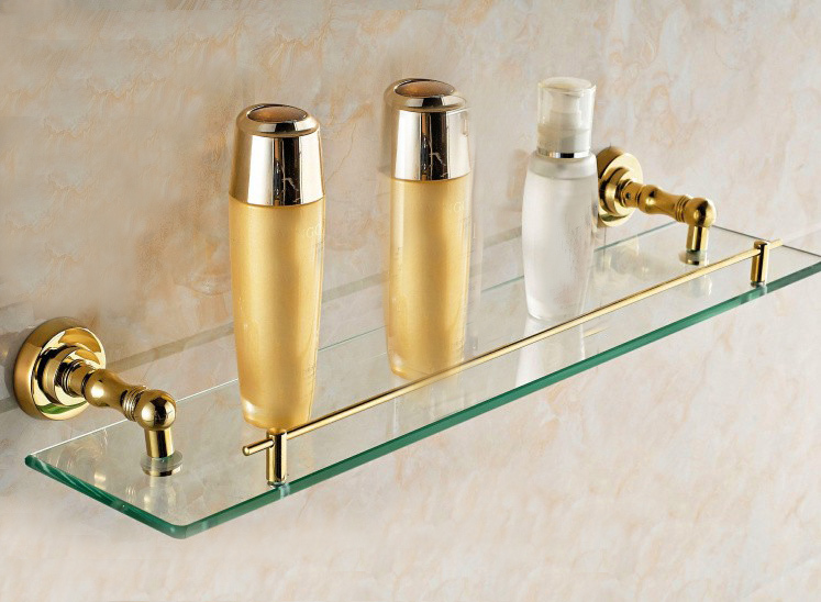 Free shipping-Bathroom Accessories Products Solid Brass Base With Tempered Glass  GB012c bathroom accessories solid brass golden finish with tempered glass crystal double glass shelf bathroom shelf free shipping 6314