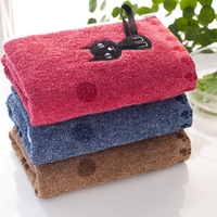 3 Pcs Cotton Kitchen Tea Towels Cat Embroidery Soft Absorbent Table Napkins