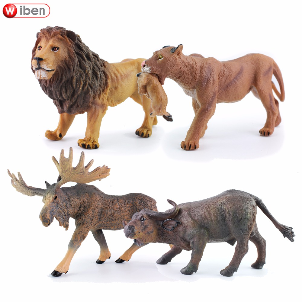 Wiben Lions Cattle North American Moose Simulation Animal Model Action & Toy Figures Learning & Educational Christmas Gift