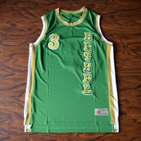 MM MASMIG Allen Iverson 3 BETHEL High School Basketball Jersey Stitched Green Vertical Version