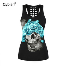 Qybian 2017 new arrivals Summer Womens Tank tops T-Shirt Sexy Back hollow out Vest Top Skull series Elastic Tops Tees
