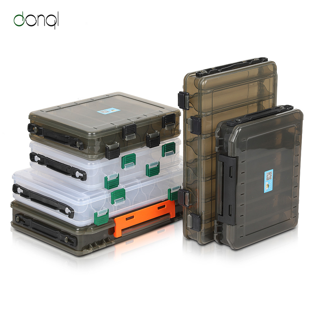 DONQL Fishing Tackle Box Compartments Storage Case For Carp Fishing Accessories Double Side Fishing Box Plastic For Fishing Lure