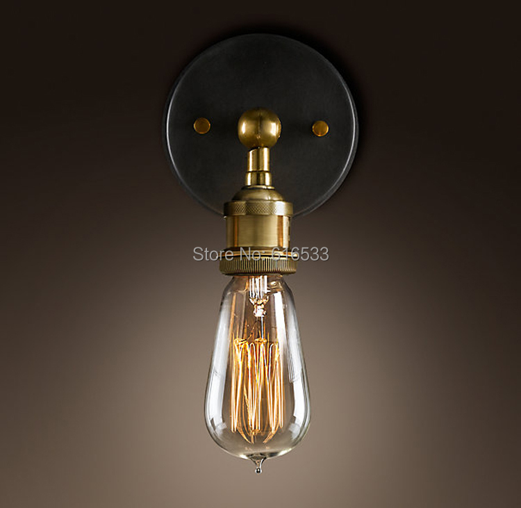 Vintage nostalgic wall lamp american style bedside bar coffee industry lamp edison bulb copper lamp b8023