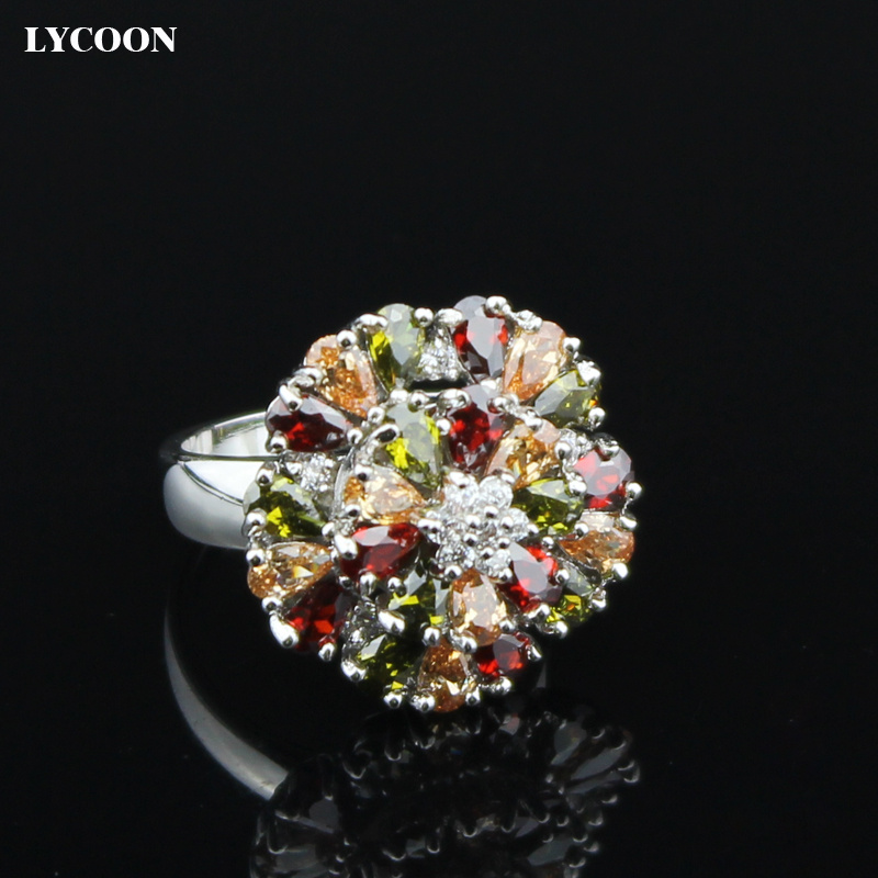 LYCOON European Court jewelry rings multi color silver plated prong setting colorful crystal flower shape women Noble ring