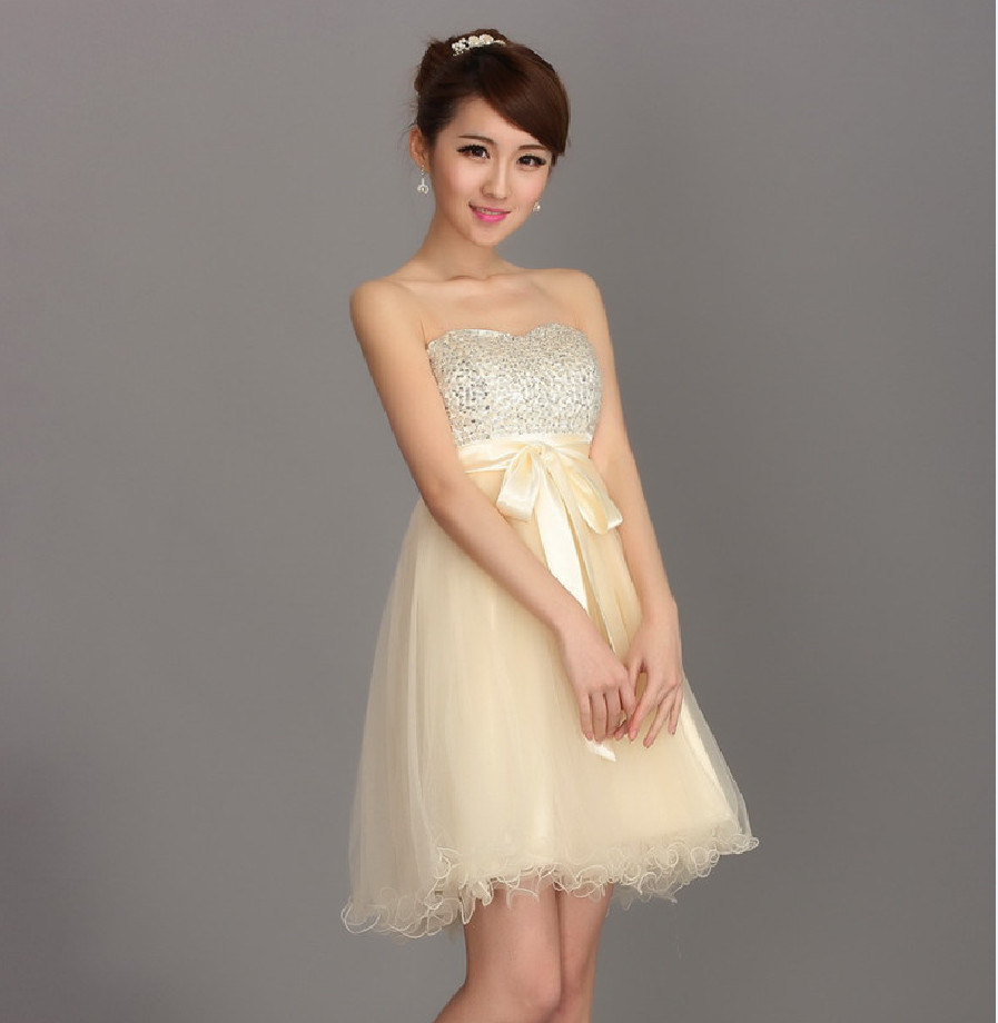 Online get cheap champagne bridesmaid short dresses aliexpress champagne bridesmaid dresses short off the shoulder sequined cute wedding guest dresses vestidos madrinha brides maid ombrellifo Images