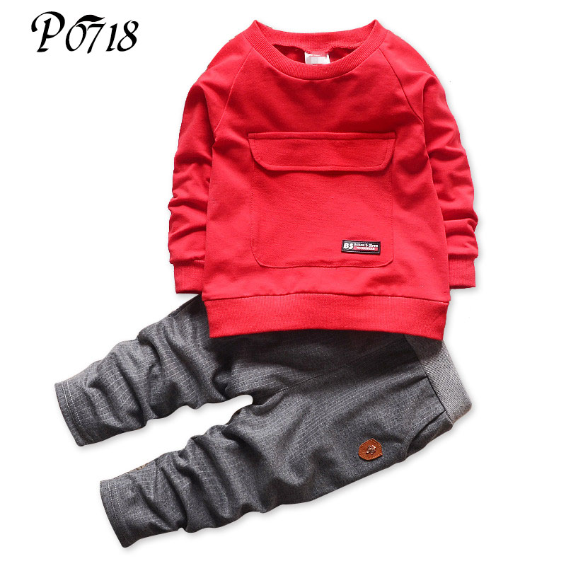 2017 New Baby Autumn Clothes Kids Suits Long Sleeve Blouses Tops + Pants Children Tracksuit Boys School Sport Set Kids 1 3 Years