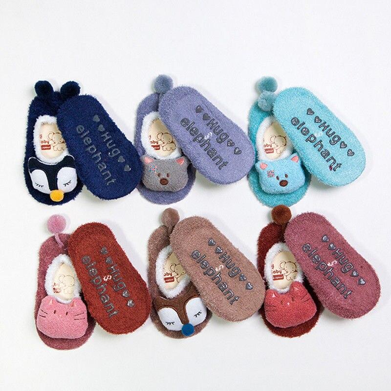 0-5 Jahre Baby Mädchen Junge Anti-slip Socken Cartoon Neugeborenen Slipper Winter Warme Tier Form Infant Socken