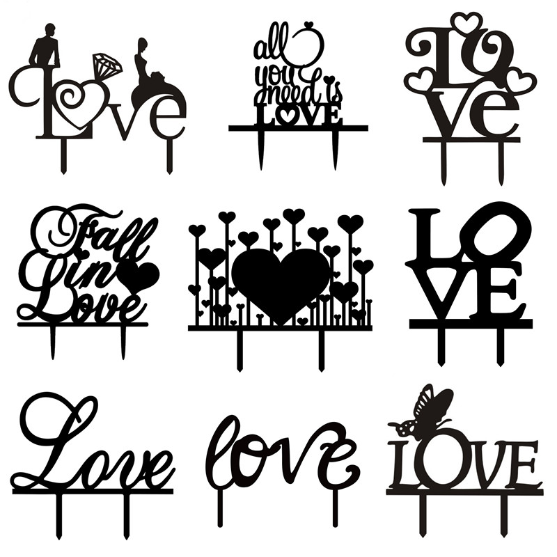 Multi Kinds of Love Hearts Acrylic Cake Flags Fall In Love All You Need Is Love cake Topper Wedding Party Cake Decoration