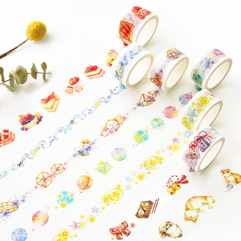 1 pcs Washi Masking Tapes Retro Cats Cakes Decorative Adhesive Scrapbooking DIY Paper Japanese
