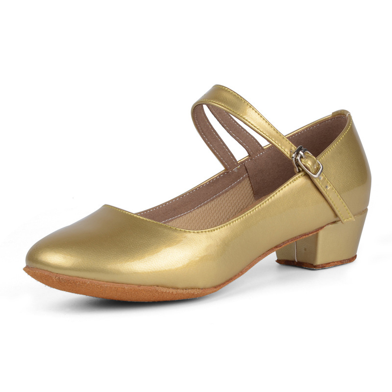 NEW low heel latin ballroom dance shoes Gold red black color popular style for children kids girls women ladies PU leather shoes
