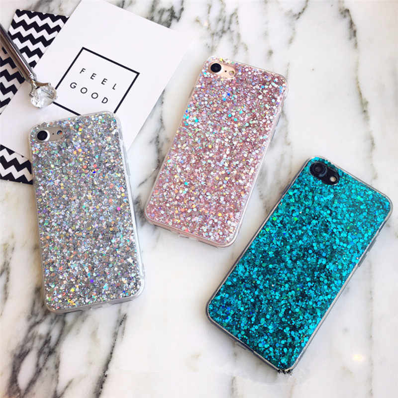 Bling Phone Case For iPhone 8 Plus Case Glitter TPU Case For iPhone XS Max XR X 11 Pro Max 7 8 6 6s Plus 5s 5se Case Cover EEMIA