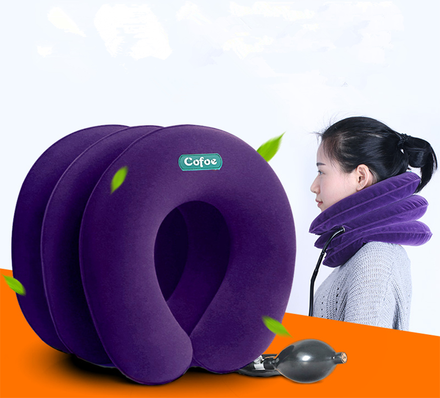 Neck Pillow Inflatable Air Cervical Neck Traction Neck Support Soft Brace Device Unit for Headache Head Back Shoulder Neck Pain цена
