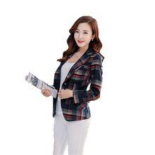 Women Autumn Small Suit Long sleeve Short Plaid Blazers New Style Elegant Fashion Suit Slim Big yards Leisure Office Suit 2668