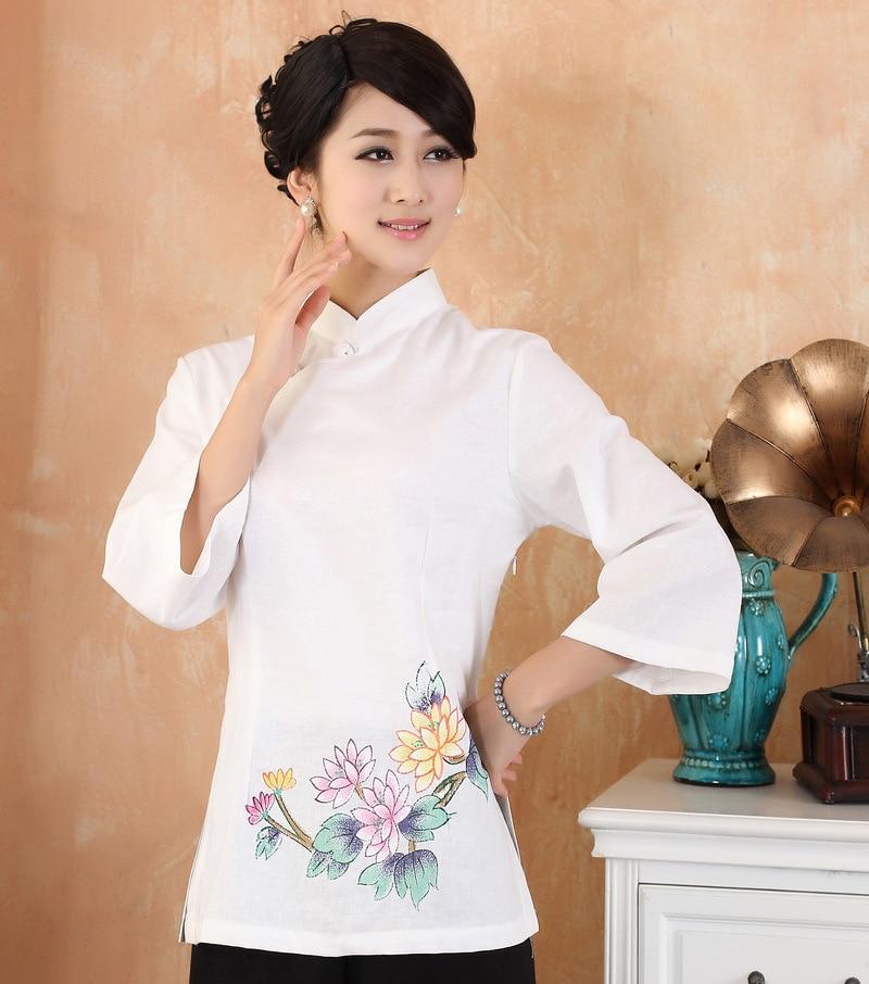 Primavera Otoño Algodón Femenino Blusa De Lino Estampado de Flores de Las Mujere