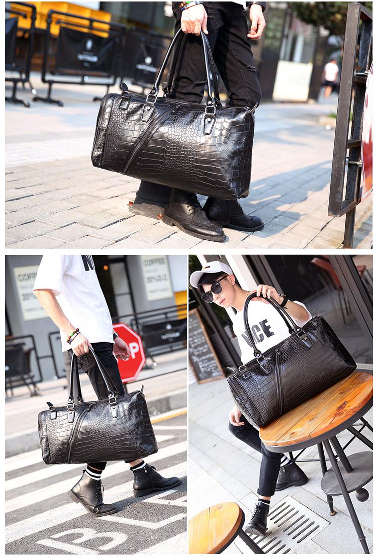 ce45a2273 Jonon Vintage Crocodile Pattern Duffle Bags Men's Weekend Travel Bag ...