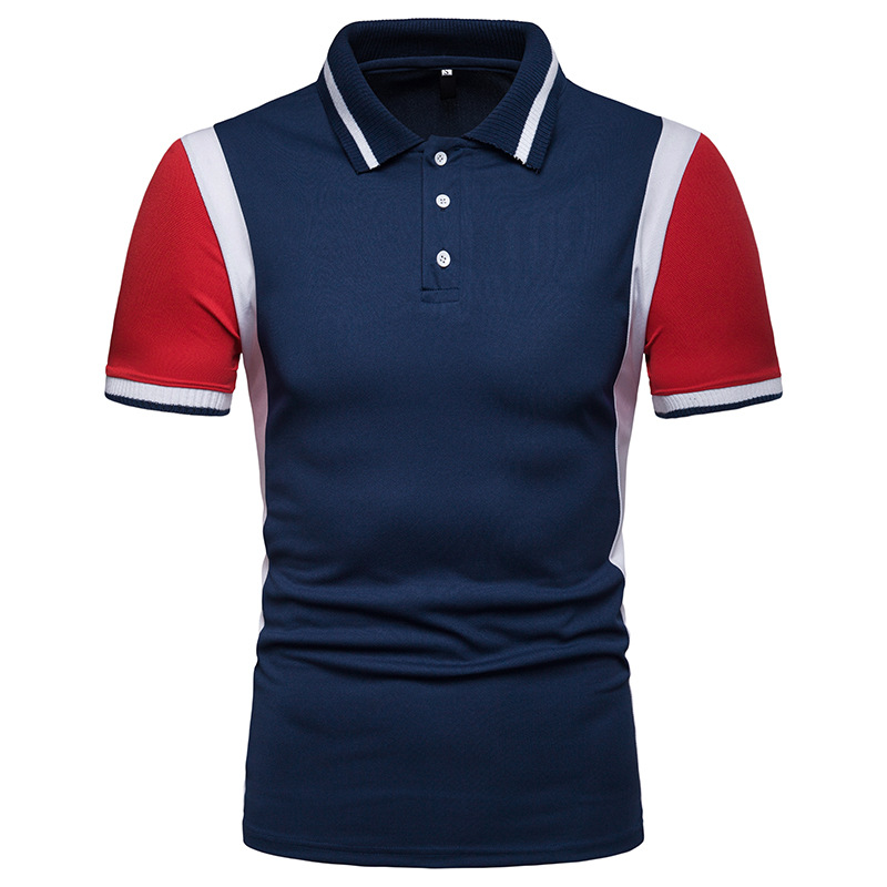 Miicoopie New Men's Short-sleeved Colorblock   Polo   Shirt Ribbed Collar   Polo   Shirt