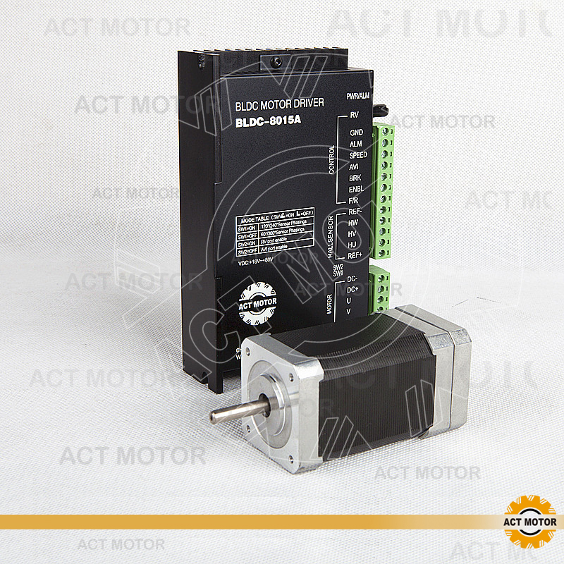 ACT Motor 1PC Nema17 Brushless DC Motor 42BLF03 24V 78W 4000RPM 3Phase  Single Shaft+1PC Driver BLDC-8015A 50V CNC Router Foam bldc motor driver controller 120w 12v 30v dc brushless motor driver bld 120a